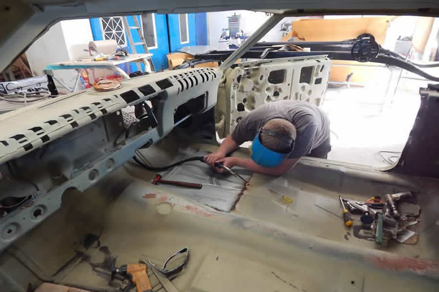 Chevy Impala welding by Marlborough Classic and Custom Restorations.